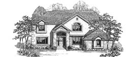 CAMBRIDGE 3428 3428 Square Feet 4 Bedrooms - 3.5 Baths 63' Wide - 76' Deep Living room, back stair, narrow footprint