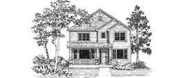 DONEGAL 2237   2237 Square Feet  3 Bedrooms - 2.5 Baths  32' Wide - 58' Deep  Narrow urban plan with rear facing attached garage, alternate elevations