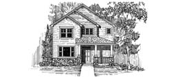 WOODBURY 2147 2147 Square Feet 3 Bedrooms - 2.5 Baths 30' Wide - 57' Wide Narrow urban plan with rear facing attached garage, alternate elevations