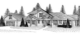 NORTHWOODS 2703   2703 Square Feet  4 Bedrooms – 4 Baths  105' Wide – 45' Deep  Main floor master round log home with guest wing