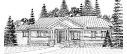 HOFFSTEAD 1704   1704 ML + 1119 LL = 2823 Total Square Feet  3 Bedrooms – 2.5 Baths  90' Wide – 44' Deep  Ranch style square log home with vaulted great room