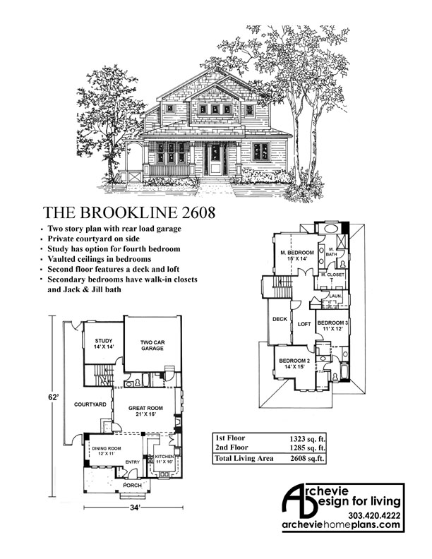 BROOKLINE 2608 — Archevie Design on narrow lot house plans beach, narrow lot house plans cottage, narrow lot house plans lake,