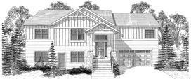 PARKHILL 2023 2023 ML + 1129 LL = 3152 Total Square Feet 2 ML + 2 LL Bedrooms - 2 ML + 1 LL Bath 64' Wide - 45' Deep Raised Ranch plan ideal for an uphill lot