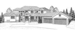 CANTERBURY 4187   4187 Square Feet  4 Bedrooms - 4.5 Baths  111' Wide - 99' Deep  Main Floor Master plan with stone and stucco exterior with timber details and angled 4 car Garage