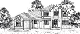 HATFIELD 3283   3283 SQUARE FEET  3 BEDROOMS - 2.5 BATHS  69' WIDE - 58' DEEP  TUDOR STYLE, 3 BEDROOM, MASTER BEDROOM ON MAIN, OPEN PLAN, OUTDOOR LIVING, SIDE ENTRY GARAGE