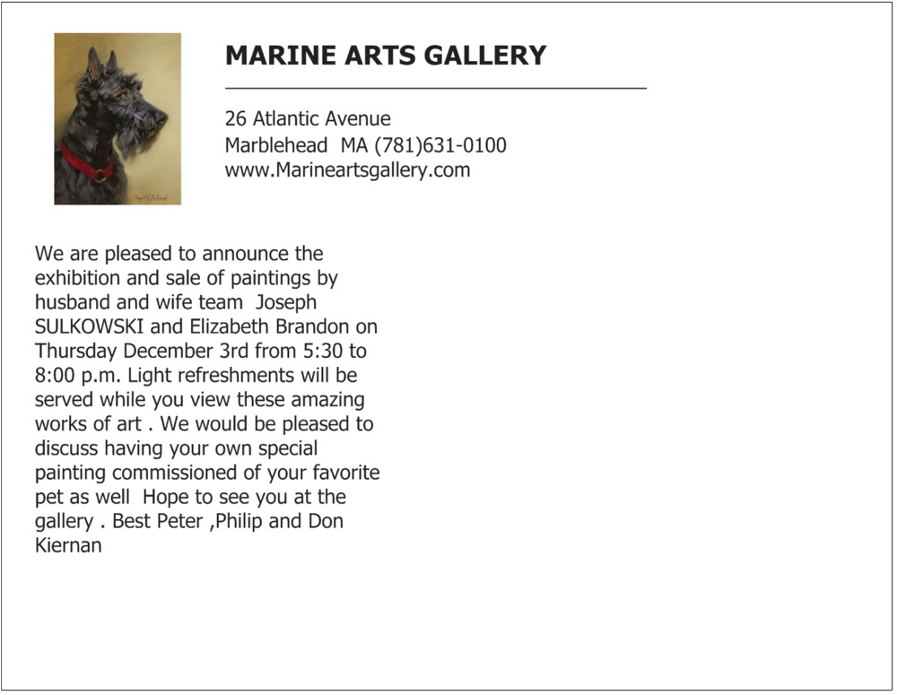 Marine Arts Gallery Announcement