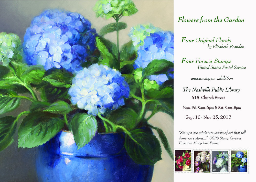 "The four florals that inspired the ""Flowers from the Garden"" Forever Stamps are on display at The Nashville 'award winning' Downtown Library.  Canvas prints of the four paintings are available on this website in 'Shop'.  ""Peonies"" and  ""Blue Hydrangeas"" are original oil paintings available for purchase."