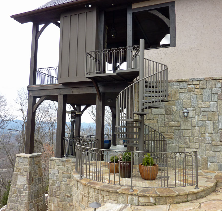 SPIRAL STAIRCASE AND OUTSIDE RAILING