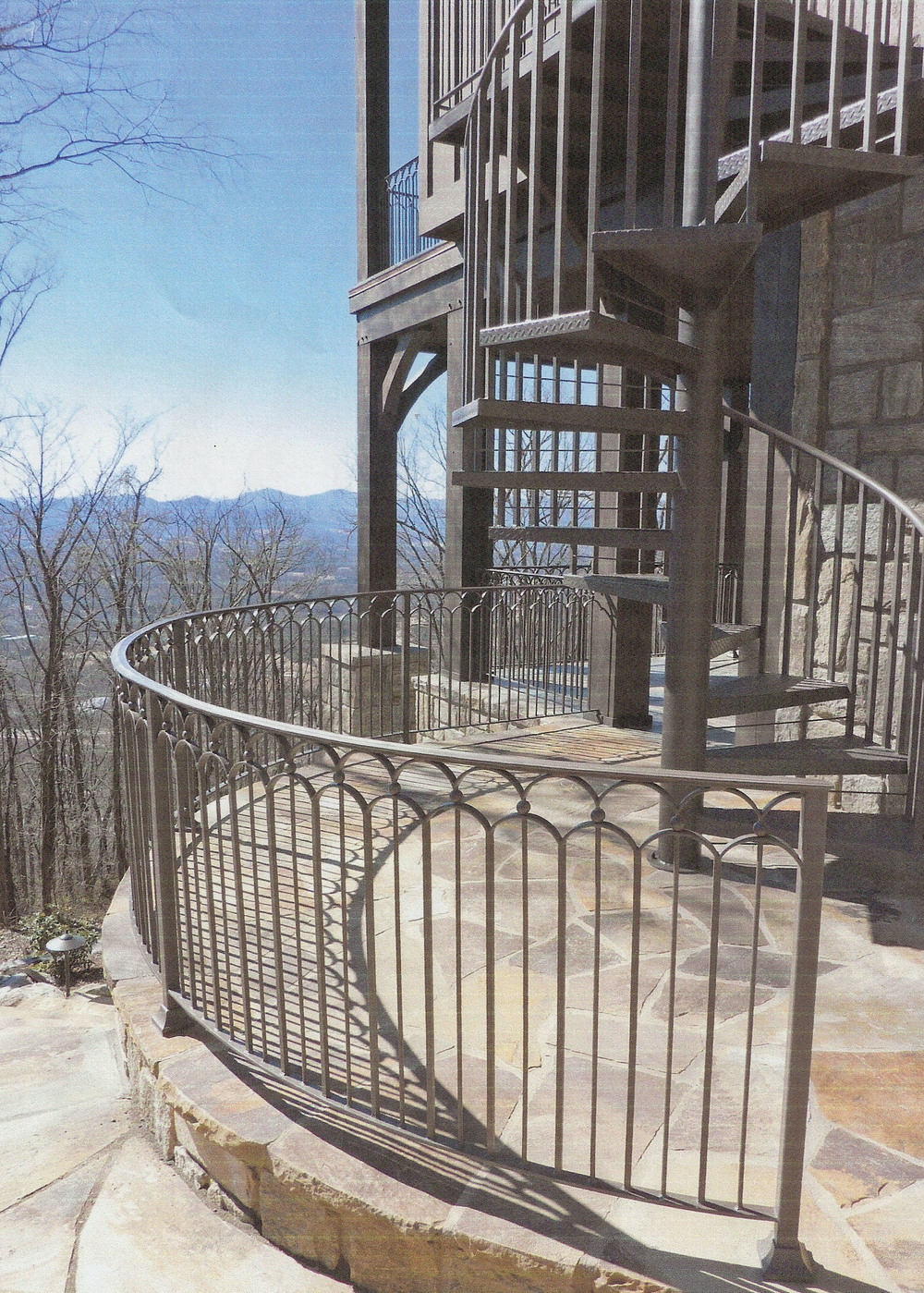 Iron fabricated outside curved railing