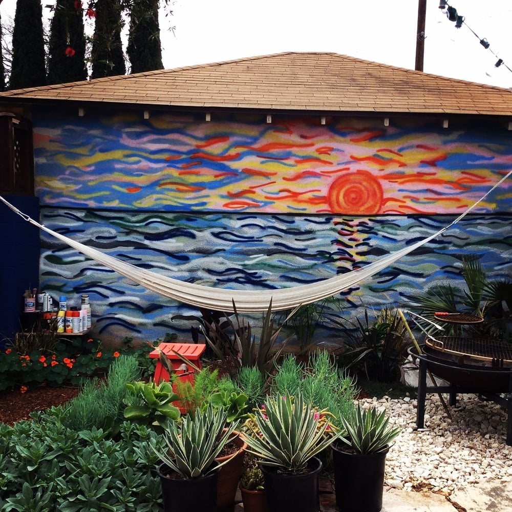 The garage mural at the Hyde Park house. Almost finished.