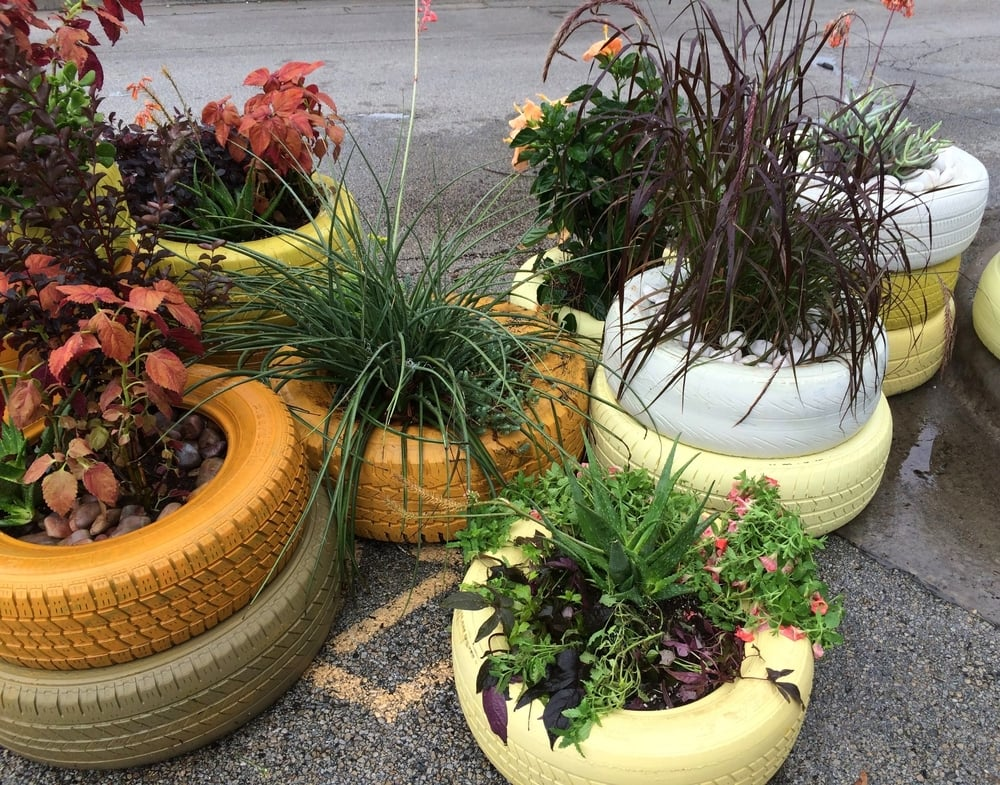 The recycled tire planters at Oddfellow's in stormy Dallas.
