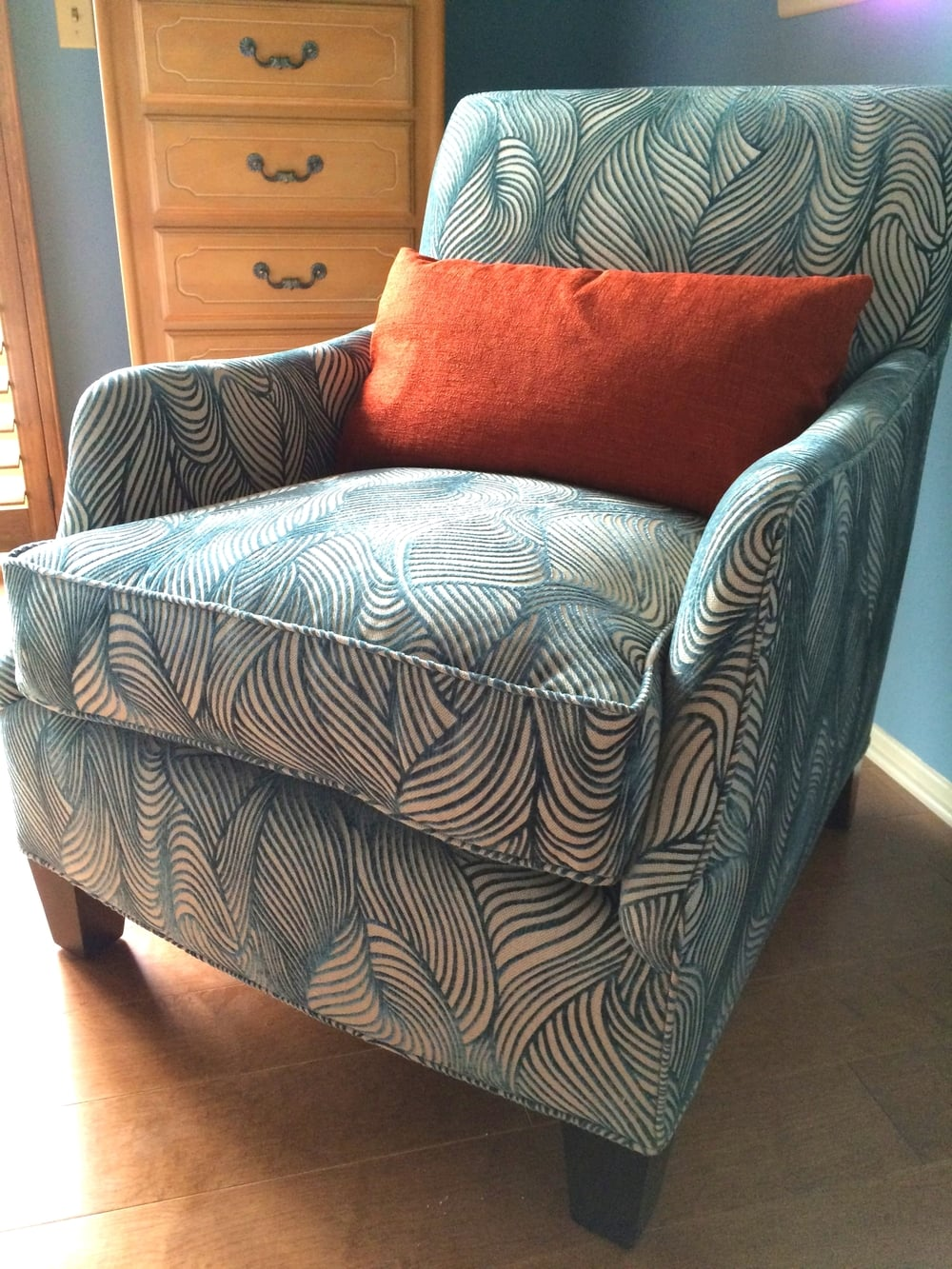 The perfection that is the armchair in the master bedroom at the Channel Islands Marina house.
