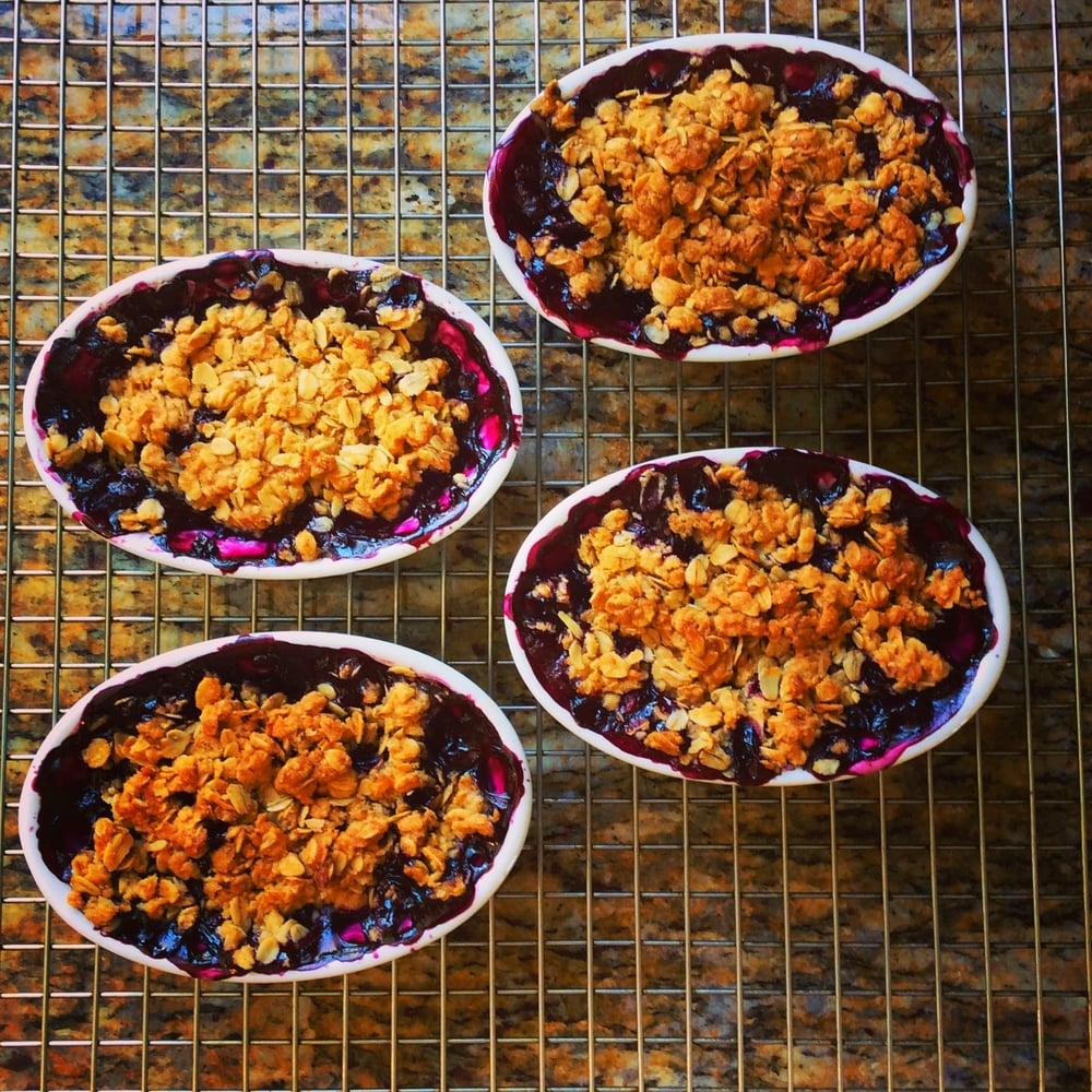 Blackberry cobblers for dinner with some of my favorite people.