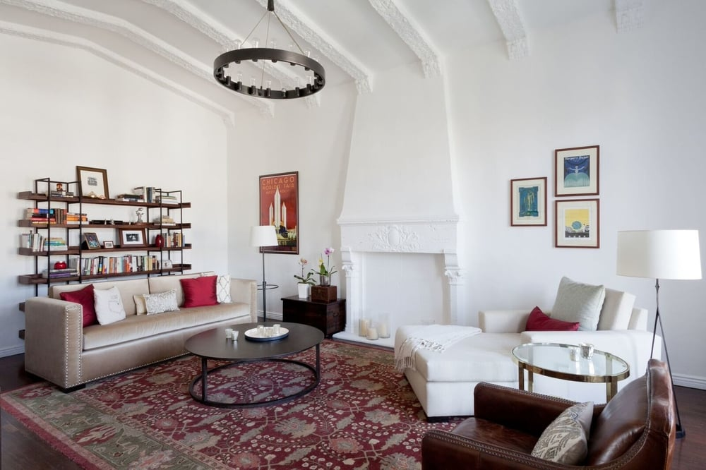 The finished living room in the La Fontaine penthouse.