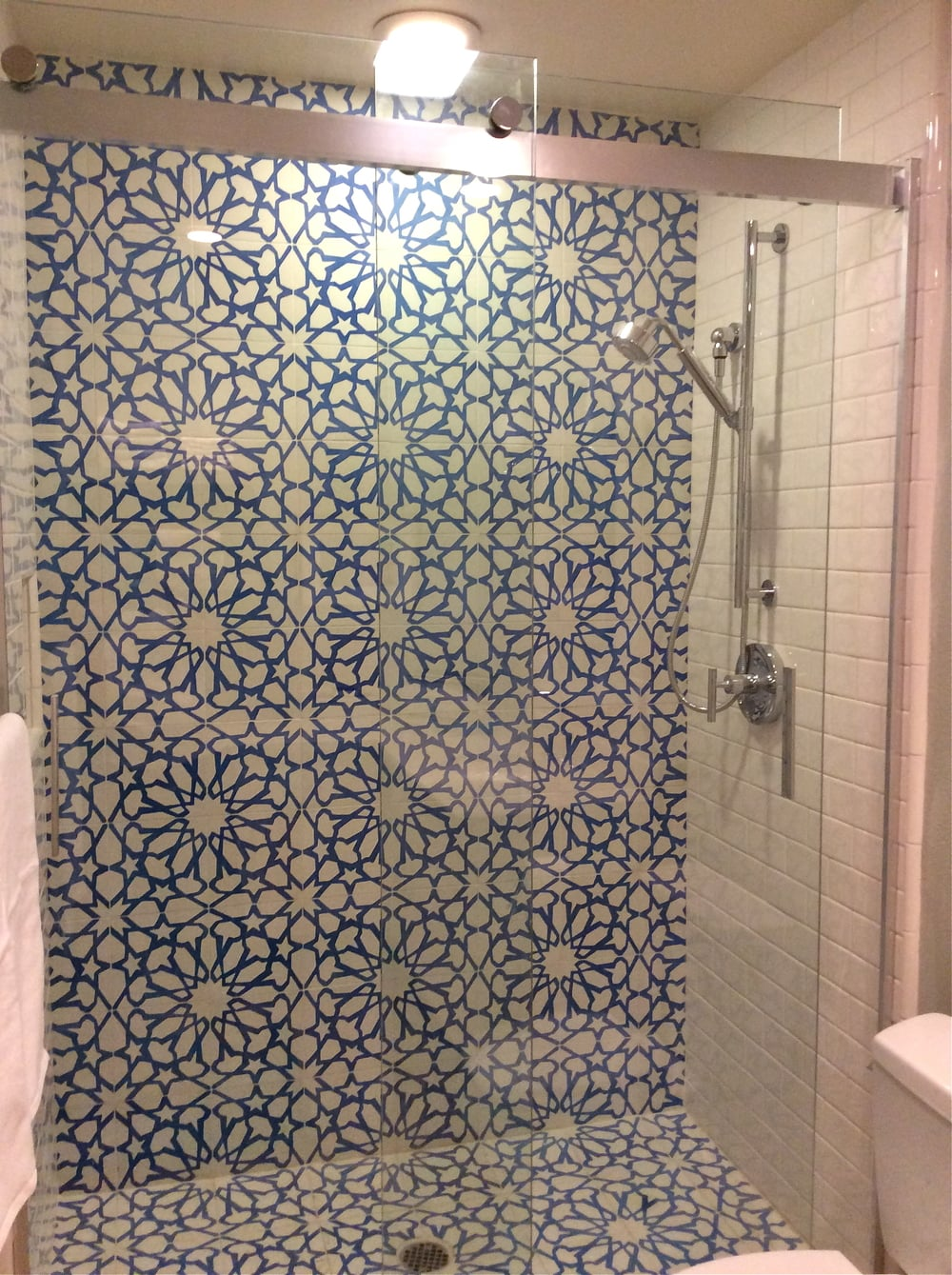 The incredible shower in the master bathroom at the Channel Islands Marina house.