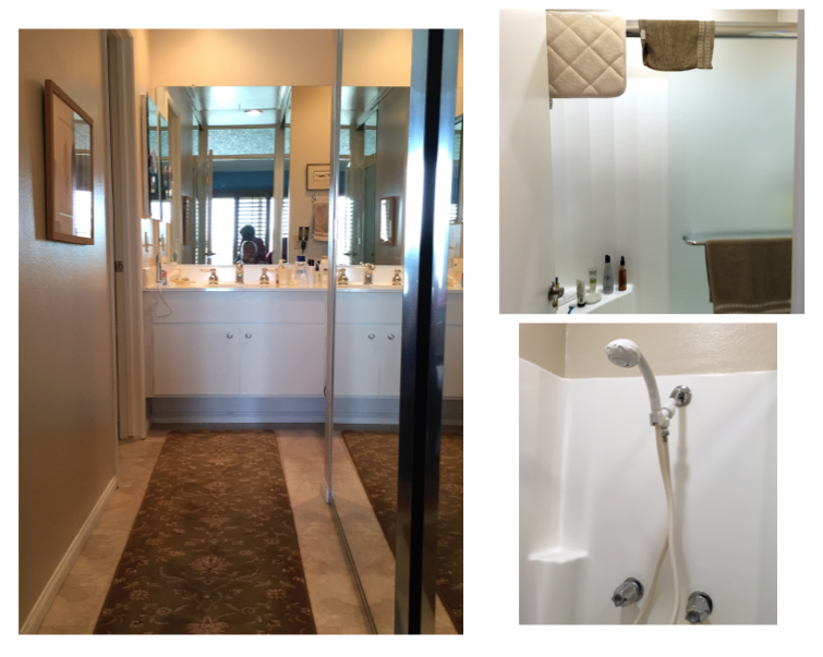 The before blah trifecta: the long hallway covered in vinyl tile, the dark, walled-in WC with the door that bumped the shower sliding door, the molded fiberglass shower stall with a sad plastic hand shower.