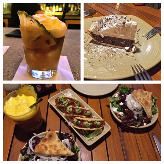 At Monkeypod Kitchen: the famous mai tai with fancy foam on top that tasted like lilikoi dole whip. The chocolate cream pie.  The poke tacos and salad of local greens, beets and Maui onions.