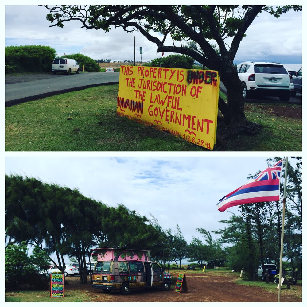 I saw lots of Hawaiian sovereignty signage, lots of kick ass fruit stands. Also lots of waving Hawaiian flags, with the Union Jack as the reminder of the conquerors who showed up before the Americans did.