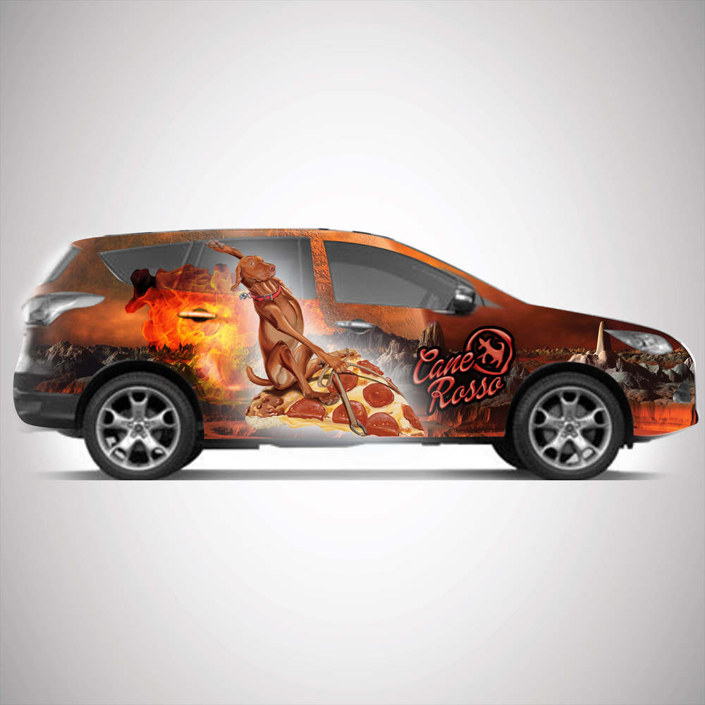Cane Rosso company car with dog on pizza.jpg