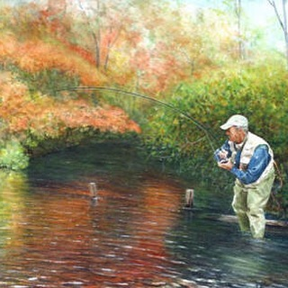 Fall color and deep shadow help the interactive arc of fishermen and fish in this scene from the Nissequogue River in New York. Available for purchase through the link in profile. #fall #autumn #leaves #foliage #fishing #fish #flyfishing #river #fisherman #fishermen