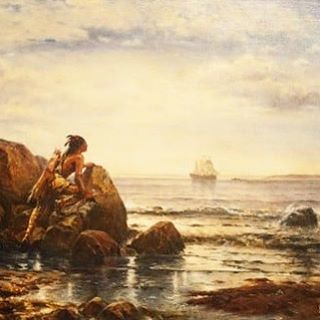 "Masterpiece reproduction and private commission--""Henry Hudson Entering New York Harbor."" Original by Edward Moran (American maritime 1829-1901). 12 Artists proofs, signed and numbered. In the private collection of Matt Kennedy, Long Island, NY."