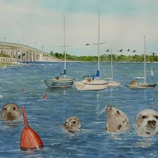 "This original watercolor ""Sag Harbor Seals II"" was commissioned by Betty Lawford Kennedy quite a few years ago. The painting is now in her daughter, Robin Kennedy's home in Southampton. Robin has commissioned Mr. DeVito for two more pieces in the past year, and his print company has decided to reproduce the image in a limited/signed Giclee of 50 Artist Proofs. Now for sale at $200 (Unframed) on the Gallery and Store page of this website. Click the link in my Instagram Bio for my e-store. Image above is a section of the print, which measures 18"" x 24"". #hamptons #sagharbor #longisland #seals #sailboats #sailing #nature #outdoors #art #sea #bay #bridge #painter #painting @arthamptons @hamptonsarthub @guild_hall @longislandaquarium"