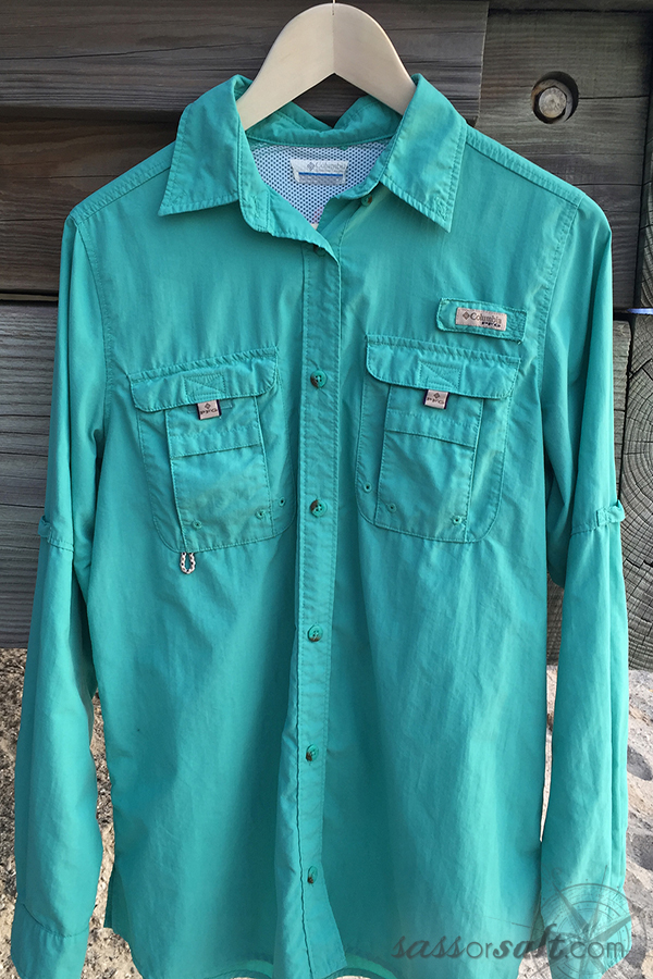 Spf women 39 s button up shirt sass or salt for Shirts with sunscreen in them