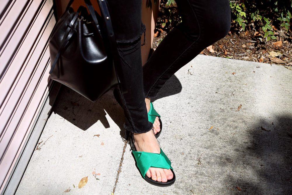 twelve:ofour Céline sandals, Mansur Gavriel bucket bag