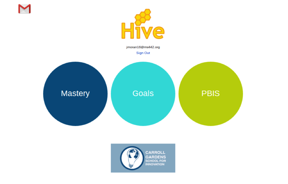 Screenshot of CGSI's mastery management system, the 'Hive'