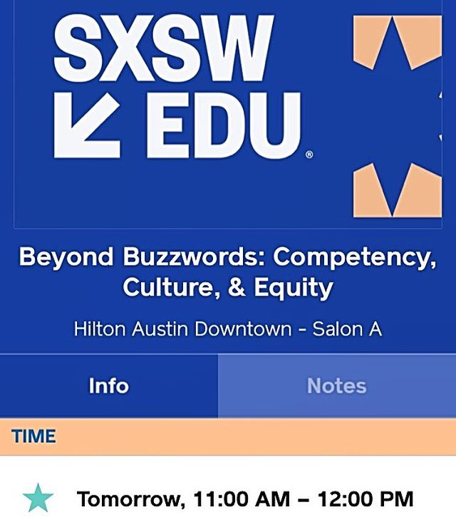 Tomorrow at 11am at @sxswedu @masterynyc will be presenting 'Beyond Buzzwords: Competency, Culture, and Equity'. Let's get real and explore the connections between CBE, CRE, and Equity. Join us if you're around! #competencyed #masteryed #equity #culture #culturallyrelevant #culturallyresponsiveteaching #sxswedu #sxswedu2018