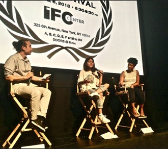 Student Kaitlyn (center) and Dean Jessica Jean-Marie from Harvest Collegiate High School, with MC Co-Founder Jeremy Chan-Kraushar at MC Film Festival, June 2018.