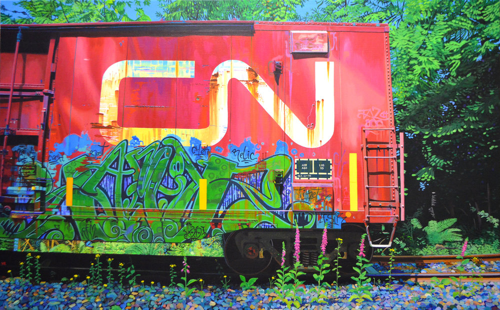 Portrait of a Boxcar    39 x 62    acrylic on canvas
