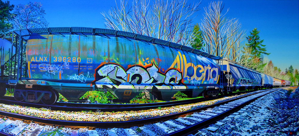 Alberta Blues    32 x 70    acrylic on canvas