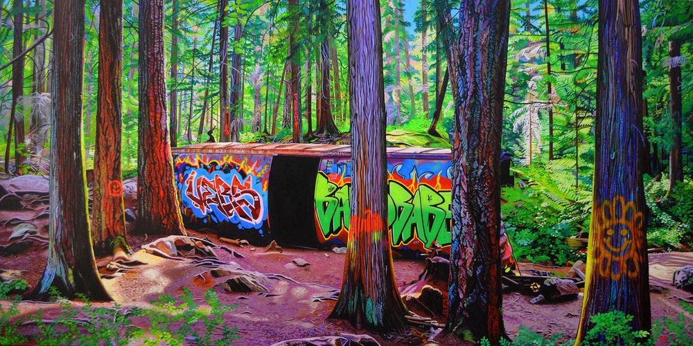 Train Wreck    39 x 78    acrylic on canvas