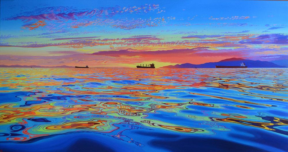 Three Ships    38 x 72    acrylic on canvas