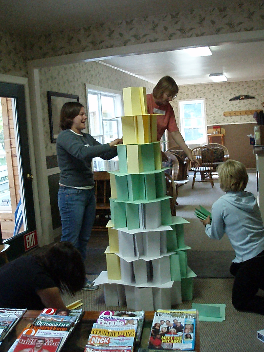 we always include some crazy team-building projects in our staff meetings. here the team was challenged to build the tallest tower they could design, from single sheet of paper.