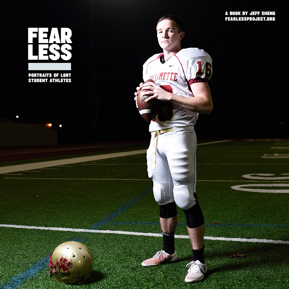 "Conner, Football, Willamette University, 2014, from ""Fearless"" by Jeff Sheng"