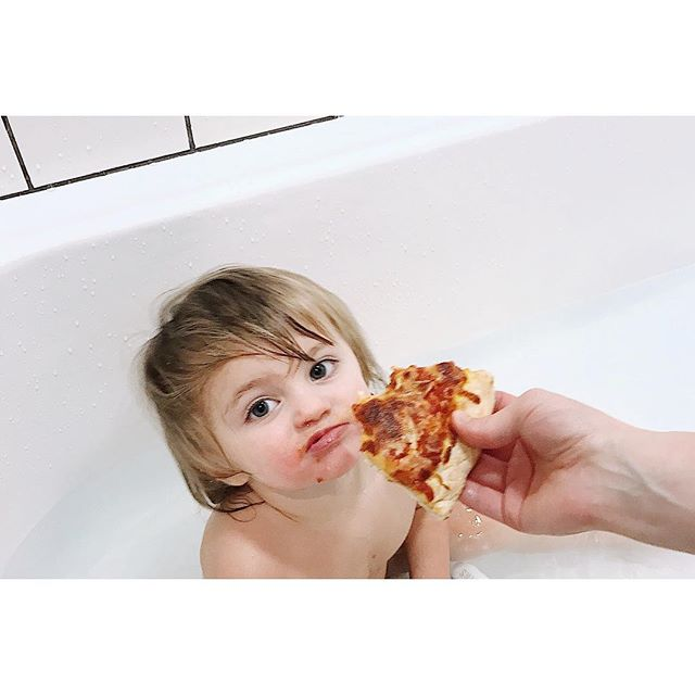 My dearest Maeve, it's taken you just two years to find what most will search for their entire lives: someone to feed them pizza in the bathtub. Happy birthday sweetie pie. #🍕#🛀#🎂