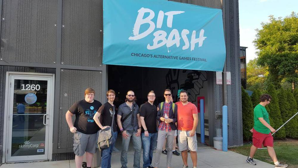 From left to right: Cody Heyer, Nathan Glynn, Jonathan Yandel (composer), Nathaniel Grove (env. artist), Eric Blomquist (lead dev), Zach Kruse (producer), and Man who appears to be a LARPer out of costume.