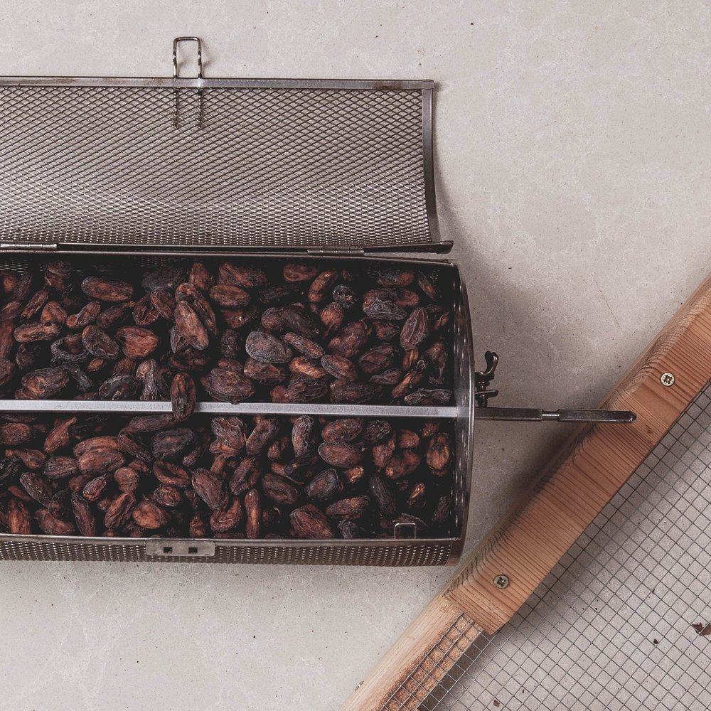 Cacao bean roasting