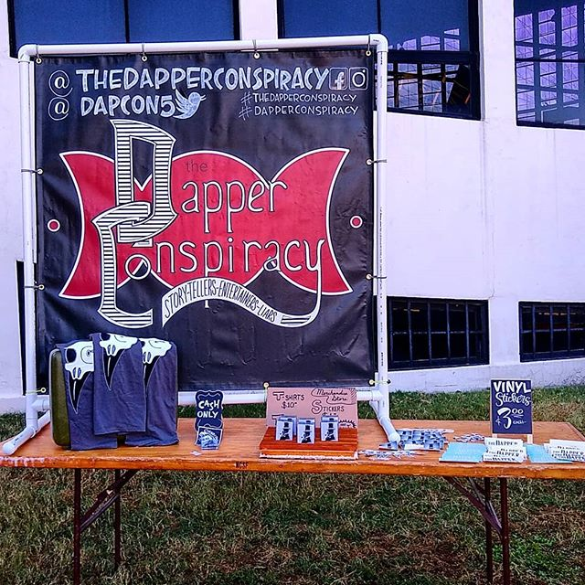 Dapper Conspiracy at the NC State Fair! It's a beautiful morning. One set down & we're playing another at 11:30. Check out our new merch!  #TheDapperConspiracy #DapCon5 #DapperDudes #DapperDame #folkrock #bluesrock #localband #localmusic #statefair #raleigh #bandmerch