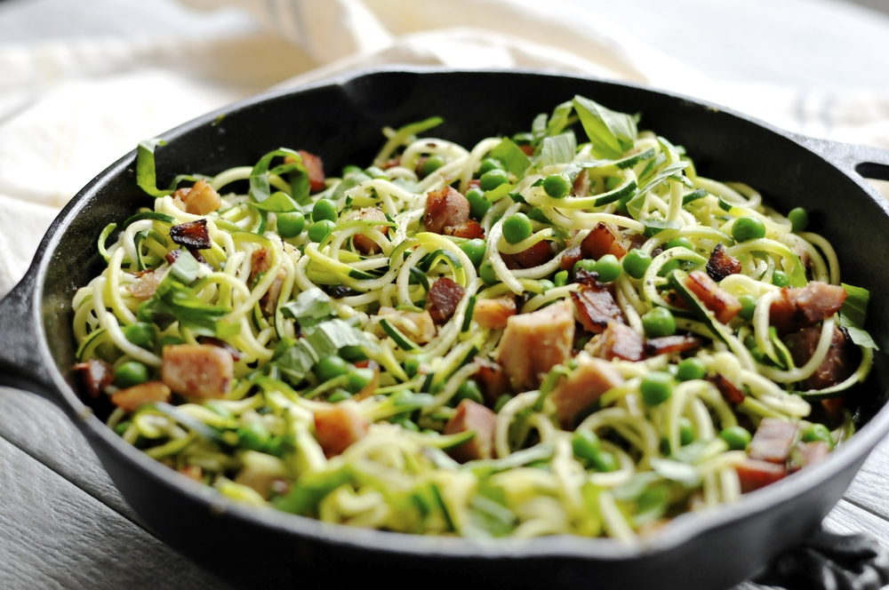 Zoodles with ham, peas, and basil