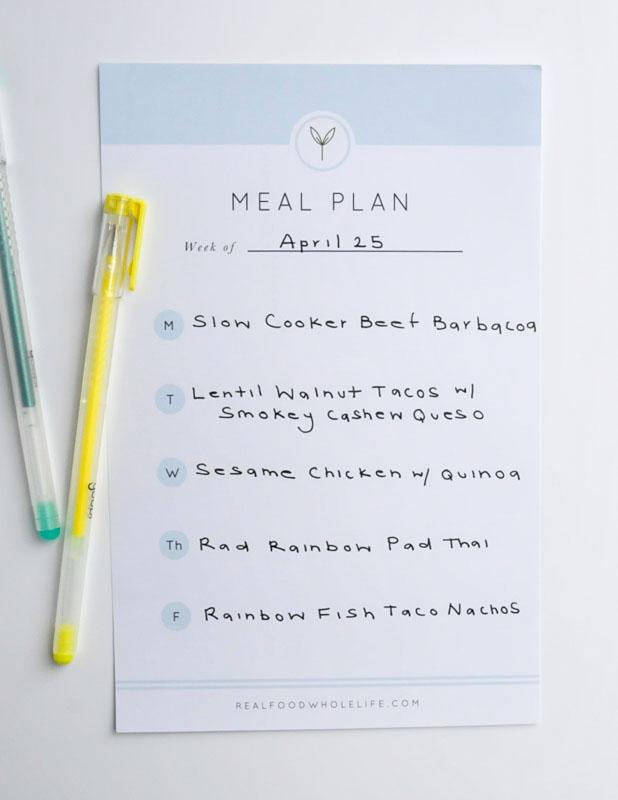 Weekly Meal Plan #realfoodwholelifemealplan