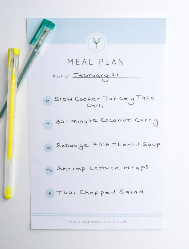 Weekly Meal Plan #realfoodwholelifemealplan #glutenfree #dairyfree