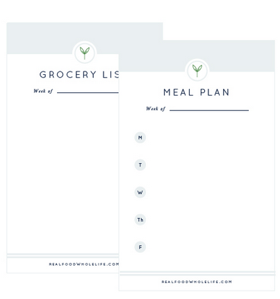 Weekly Meal Plan and Grocery List printable from realfoodwholelife.com. #mealplan #grocerylist #printable #free
