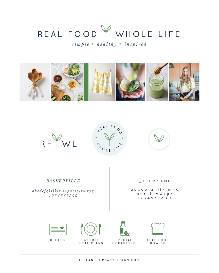 Real Food Whole Life Branding Board.
