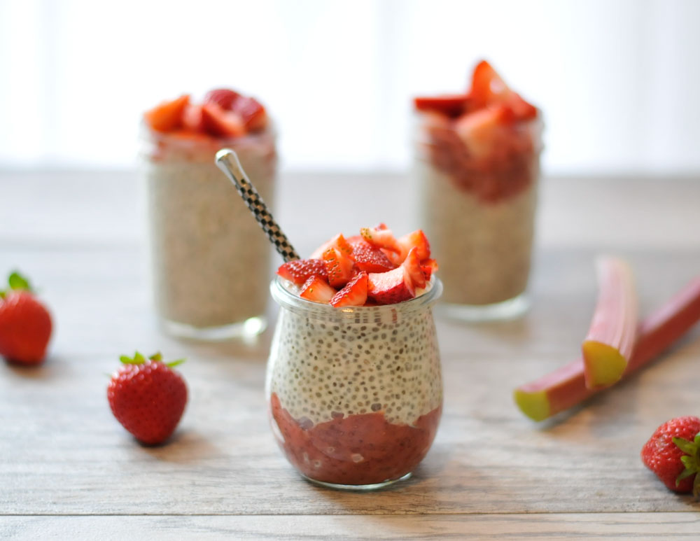 Strawberry Rhubarb Chia Seed Pudding Parfaits from realfoodwholelife.com