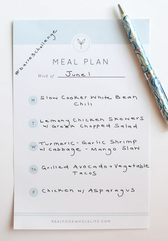 Weekly Meal Plan #barre3challenge