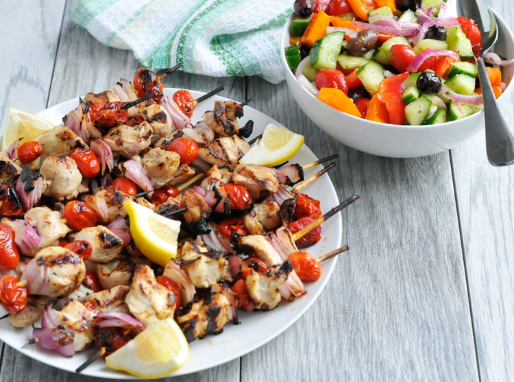 Lemony Chicken Skewers with Chopped Greek Salad