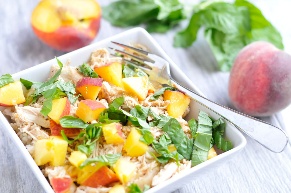 Slow Cooker Peach Chicken with Basil realfoodwholelife.com
